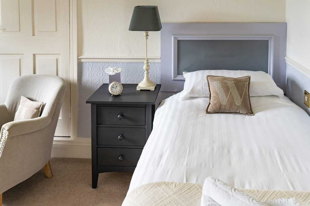 Soft colours in single room at the Woodlands Hotel in Sidmouth