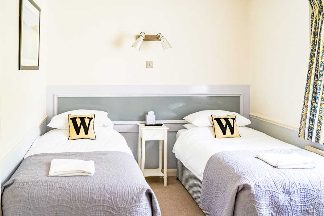 Twin beds in a standard twin room at the Woodlands Hotel in Sidmouth