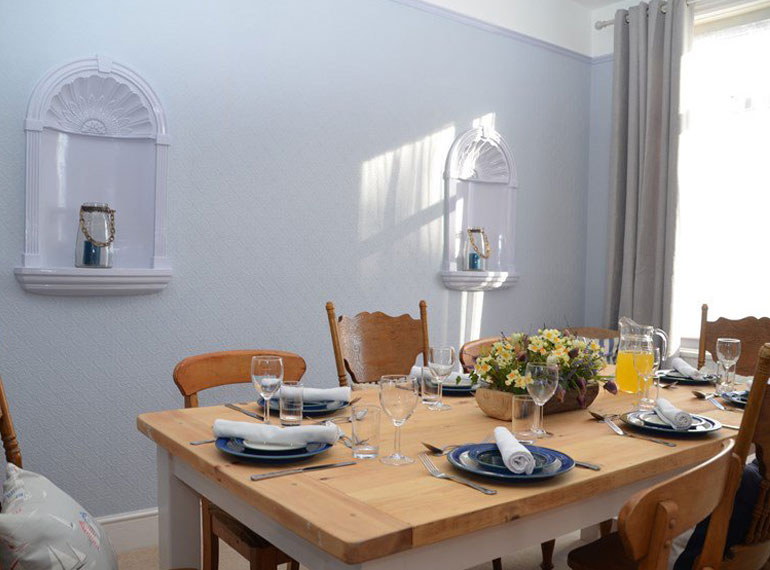 The dining room in Regency House, our self-catering property in Sidmouth